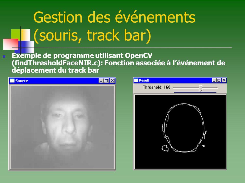 Gestion des événements (souris, track bar) Exemple de programme utilisant OpenCV (findThresholdFaceNIR.c): Fonction associée à lévénement de déplaceme
