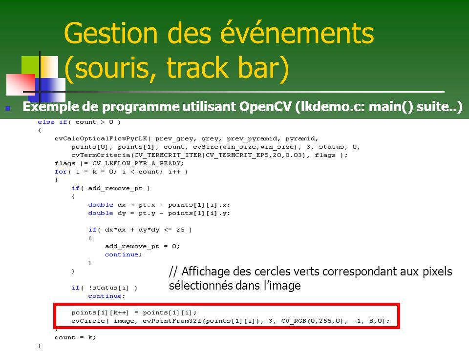 Gestion des événements (souris, track bar) Exemple de programme utilisant OpenCV (lkdemo.c: main() suite..) // Affichage des cercles verts corresponda