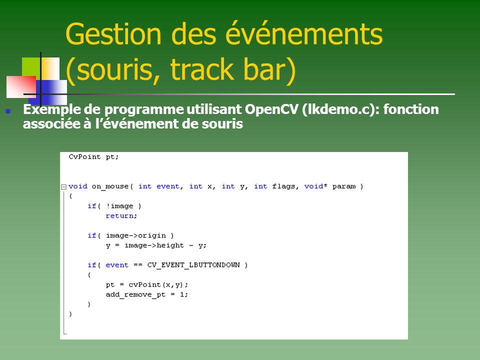 Gestion des événements (souris, track bar) Exemple de programme utilisant OpenCV (lkdemo.c): fonction associée à lévénement de souris