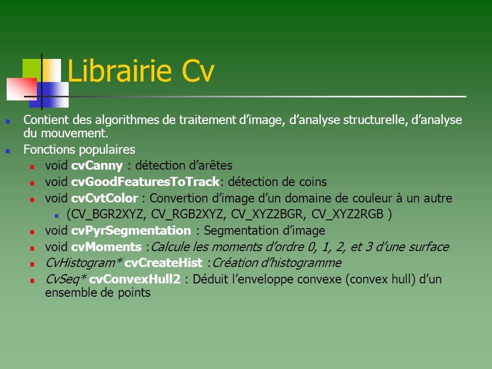 Librairie Cv Contient des algorithmes de traitement dimage, danalyse structurelle, danalyse du mouvement.