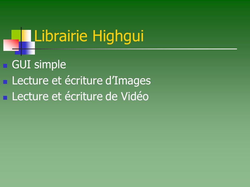 Librairie Highgui GUI simple Lecture et écriture dImages Lecture et écriture de Vidéo