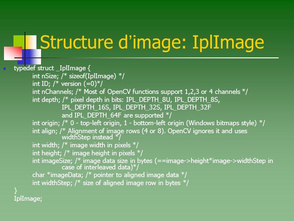 Structure d image: IplImage typedef struct _IplImage { int nSize; /* sizeof(IplImage) */ int ID; /* version (=0)*/ int nChannels; /* Most of OpenCV fu