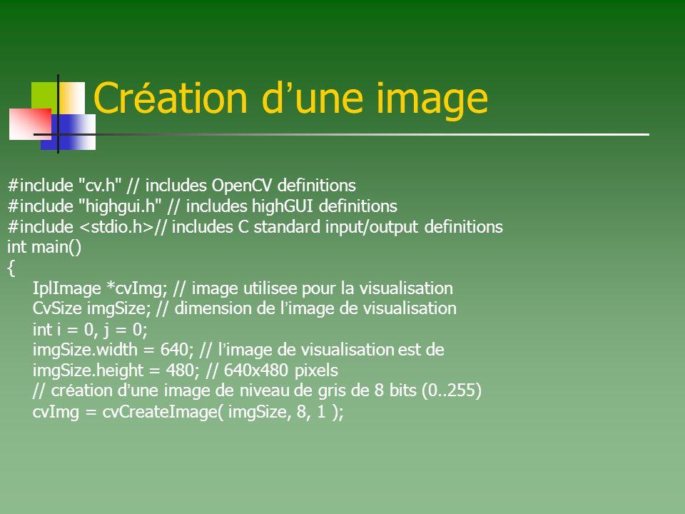 Cr é ation d une image #include cv.h // includes OpenCV definitions #include highgui.h // includes highGUI definitions #include // includes C standard input/output definitions int main() { IplImage *cvImg; // image utilisee pour la visualisation CvSize imgSize; // dimension de l image de visualisation int i = 0, j = 0; imgSize.width = 640; // l image de visualisation est de imgSize.height = 480; // 640x480 pixels // cr é ation d une image de niveau de gris de 8 bits (0..255) cvImg = cvCreateImage( imgSize, 8, 1 );