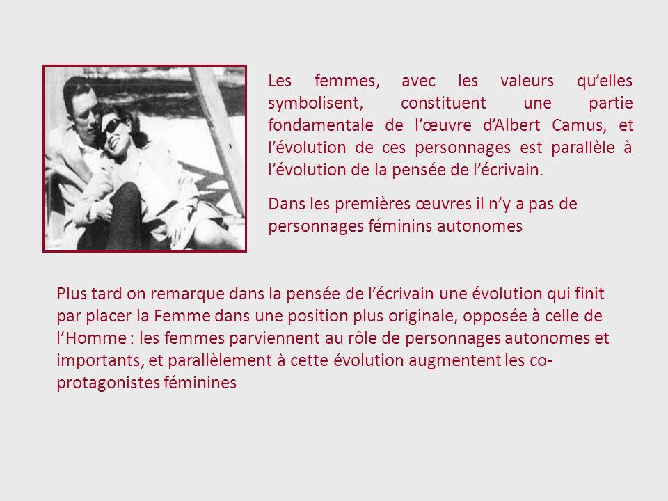 Les femmes, avec les valeurs quelles symbolisent, constituent une partie fondamentale de lœuvre dAlbert Camus, et lévolution de ces personnages est pa