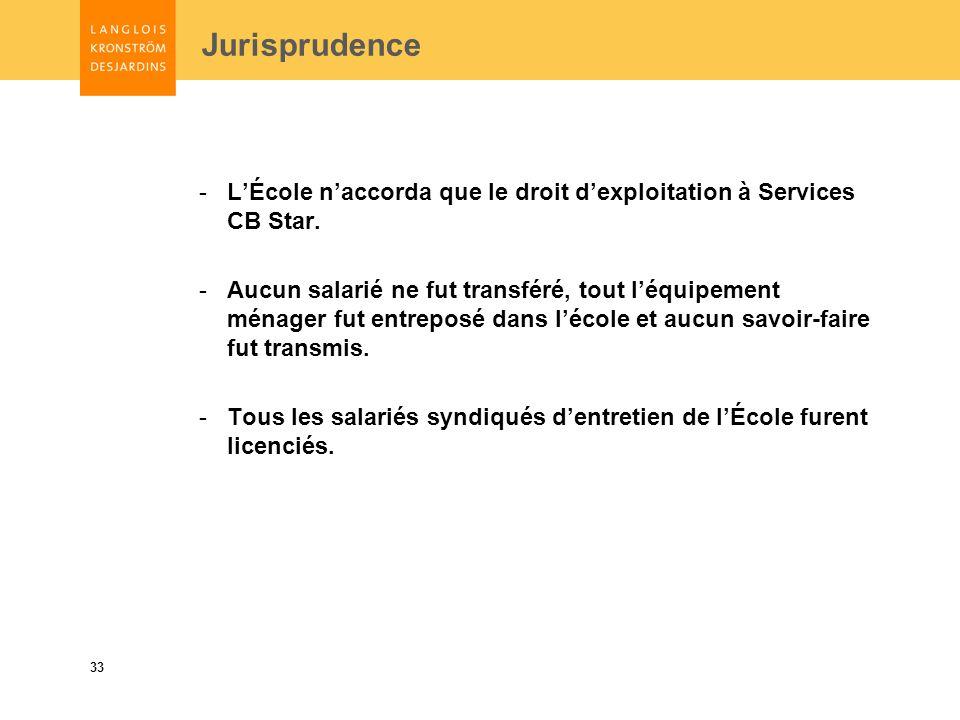 33 Jurisprudence -LÉcole naccorda que le droit dexploitation à Services CB Star.
