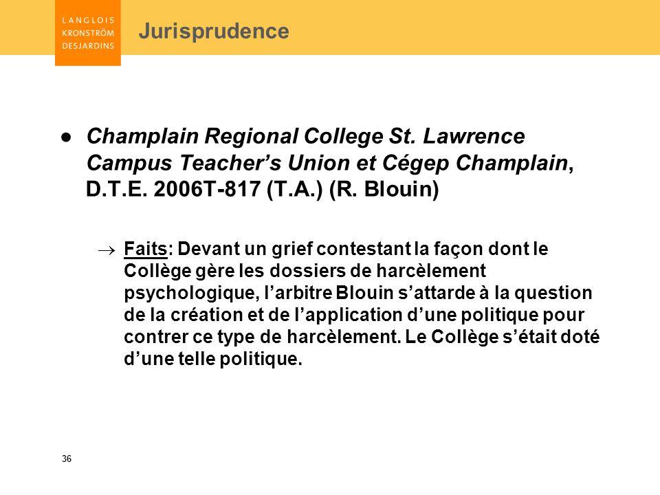 36 Jurisprudence Champlain Regional College St.