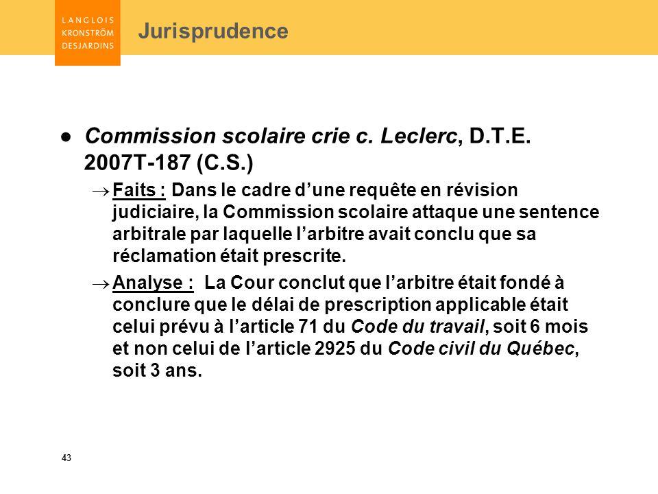 43 Commission scolaire crie c. Leclerc, D.T.E.