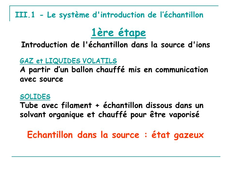 Introduction de l'échantillon dans la source d'ions III.1 - Le système d'introduction de léchantillon GAZ et LIQUIDES VOLATILS A partir dun ballon cha