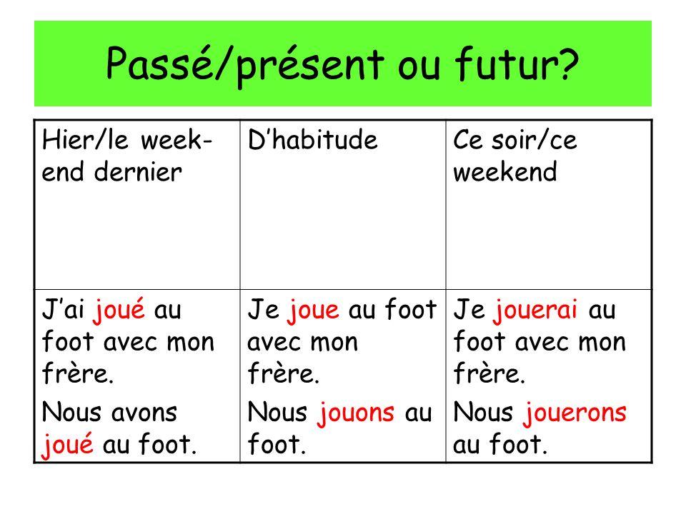 Passé/présent ou futur.