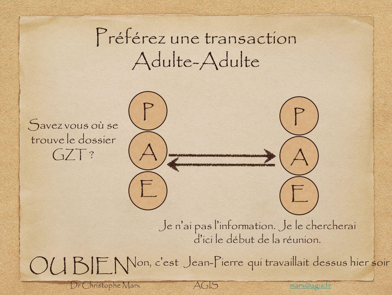 Préférez une transaction Adulte-Adulte A E P A E P Savez vous où se trouve le dossier GZT ? Je n ai pas l information. Je le chercherai d ici le début