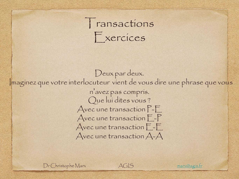 Transactions Exercices Deux par deux. Imaginez que votre interlocuteur vient de vous dire une phrase que vous n avez pas compris. Que lui dites vous ?