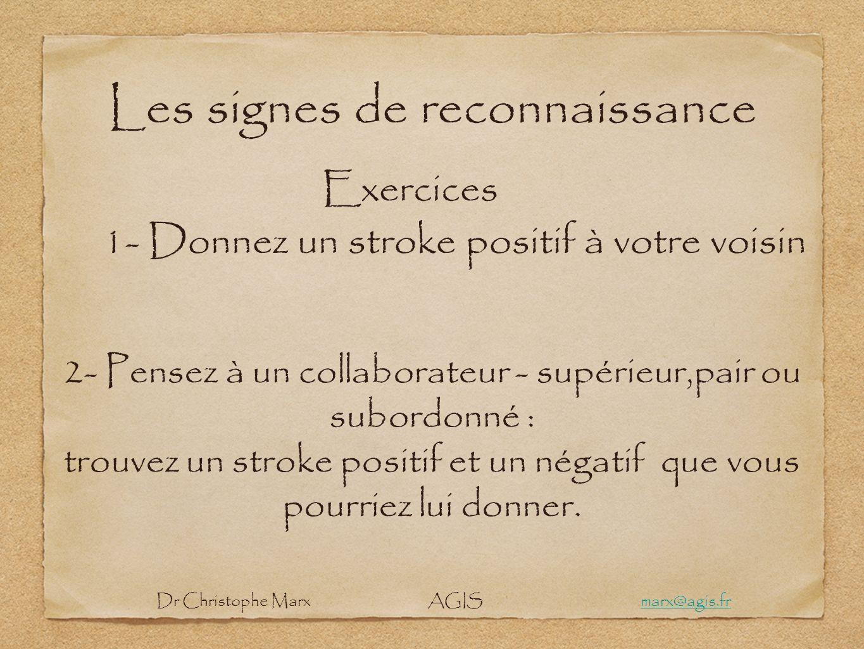 Les signes de reconnaissance Exercices 1- Donnez un stroke positif à votre voisin 2- Pensez à un collaborateur - supérieur,pair ou subordonné : trouve