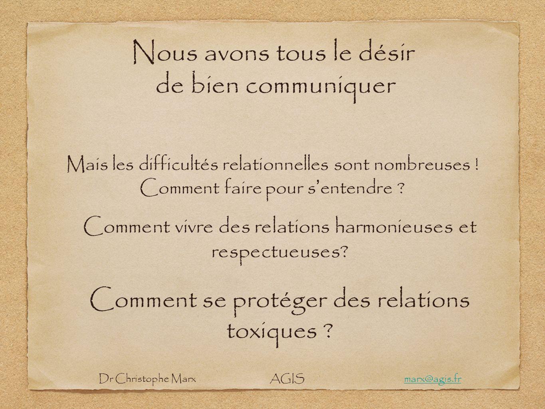 Nous avons tous le désir de bien communiquer Mais les difficultés relationnelles sont nombreuses ! Comment faire pour s entendre ? Comment vivre des r