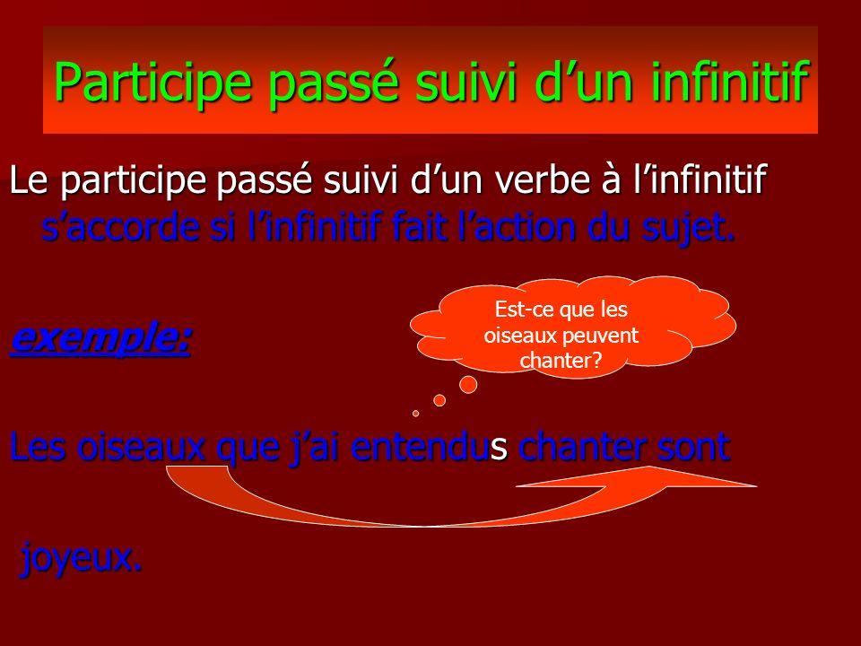 Exercices suivi dun infinitif 1.Les arbres que jai vu(___) grandir ont été coupé(___).