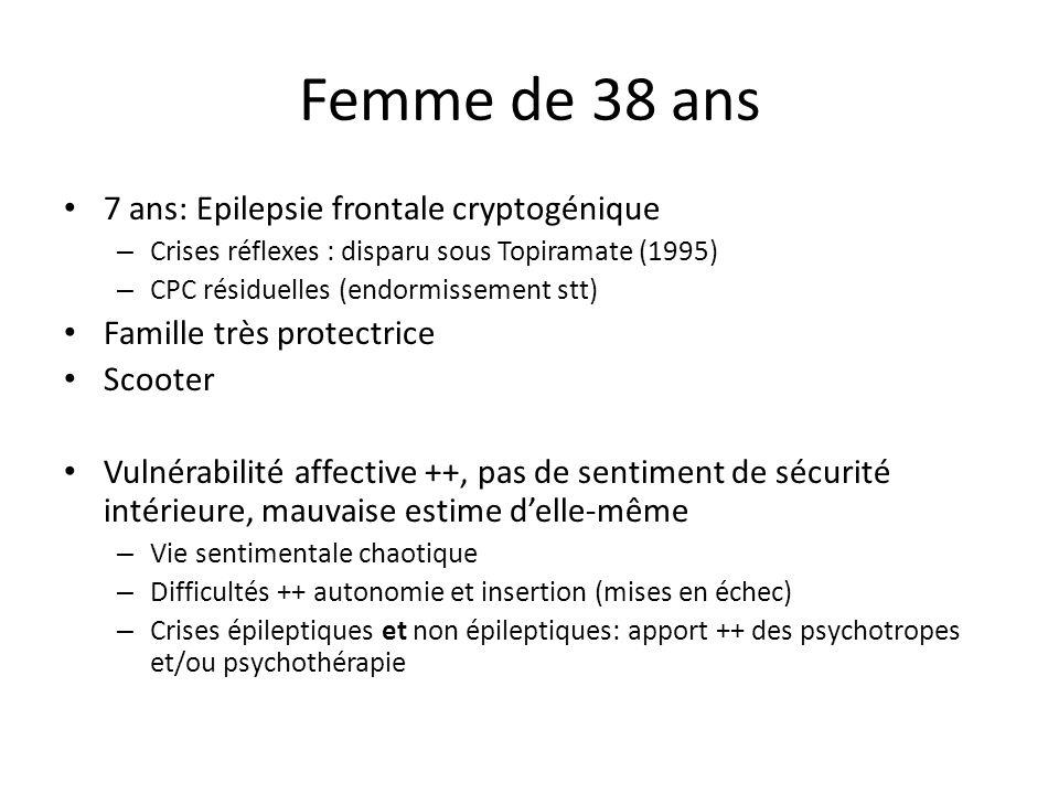 Femme de 38 ans 7 ans: Epilepsie frontale cryptogénique – Crises réflexes : disparu sous Topiramate (1995) – CPC résiduelles (endormissement stt) Fami