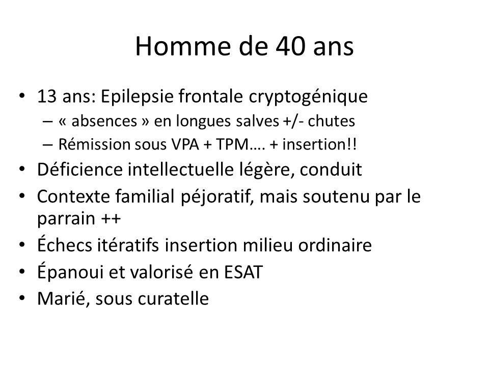 Homme de 40 ans 13 ans: Epilepsie frontale cryptogénique – « absences » en longues salves +/- chutes – Rémission sous VPA + TPM…. + insertion!! Défici