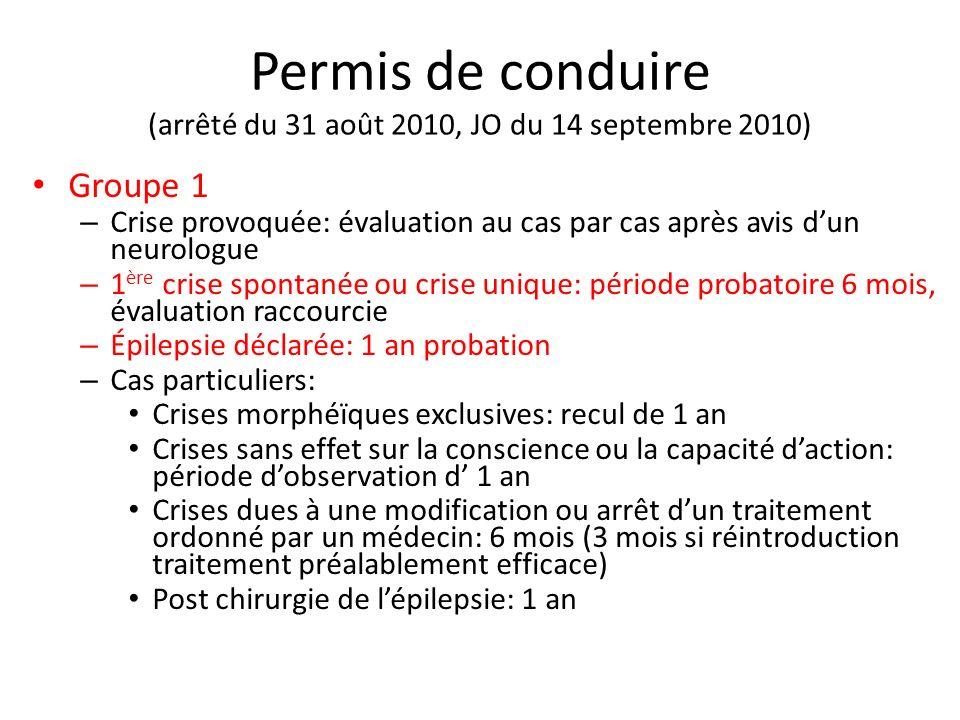 Permis de conduire (arrêté du 31 août 2010, JO du 14 septembre 2010) Groupe 1 – Crise provoquée: évaluation au cas par cas après avis dun neurologue –