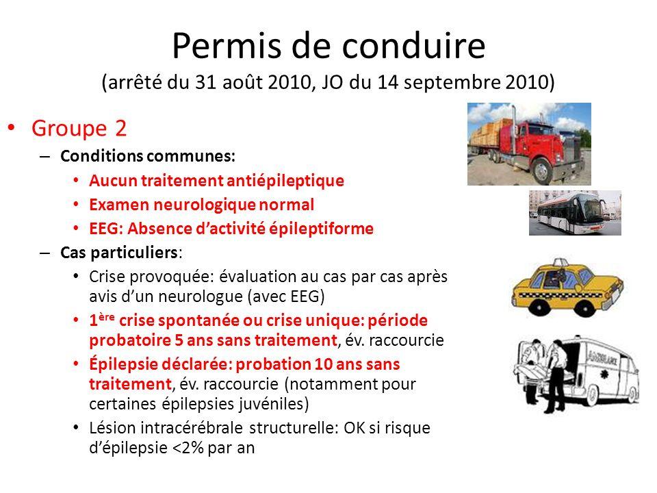 Permis de conduire (arrêté du 31 août 2010, JO du 14 septembre 2010) Groupe 2 – Conditions communes: Aucun traitement antiépileptique Examen neurologi