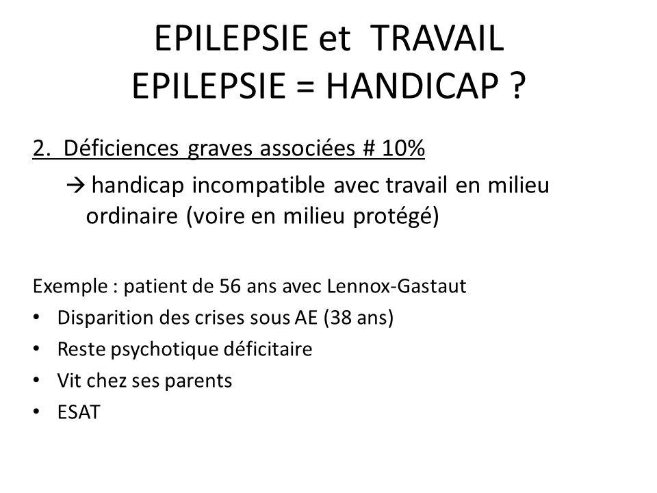EPILEPSIE et TRAVAIL EPILEPSIE = HANDICAP ? 2. Déficiences graves associées # 10% handicap incompatible avec travail en milieu ordinaire (voire en mil