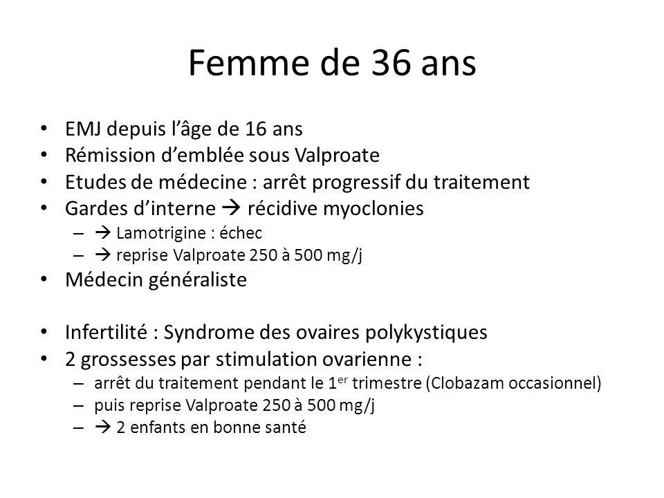 Femme de 36 ans EMJ depuis lâge de 16 ans Rémission demblée sous Valproate Etudes de médecine : arrêt progressif du traitement Gardes dinterne récidiv