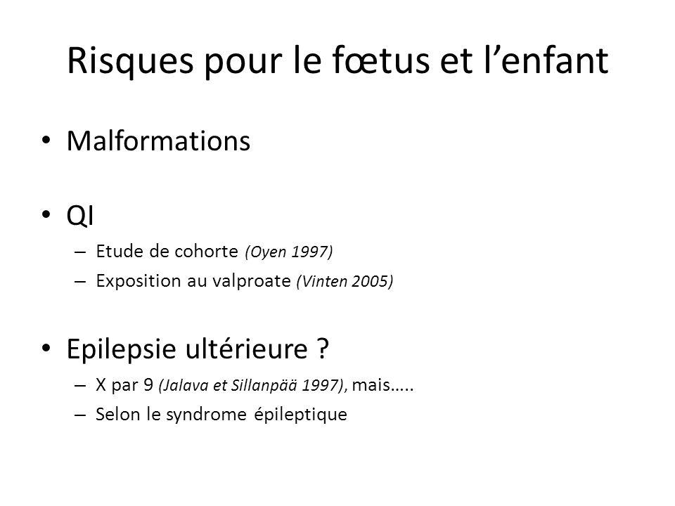 Risques pour le fœtus et lenfant Malformations QI – Etude de cohorte (Oyen 1997) – Exposition au valproate (Vinten 2005) Epilepsie ultérieure ? – X pa