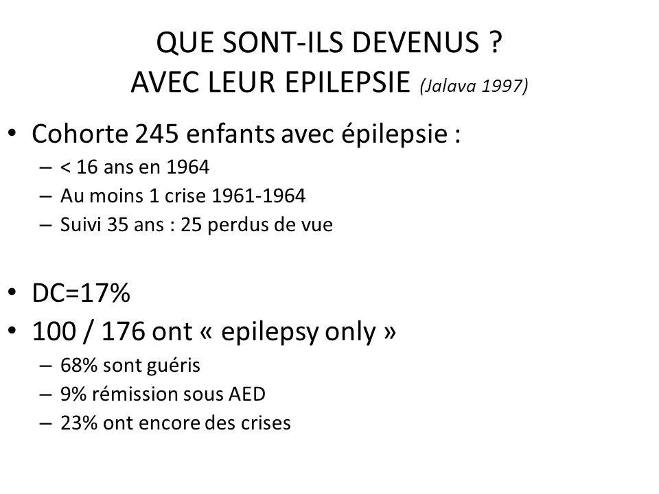 QUE SONT-ILS DEVENUS ? AVEC LEUR EPILEPSIE (Jalava 1997) Cohorte 245 enfants avec épilepsie : – < 16 ans en 1964 – Au moins 1 crise 1961-1964 – Suivi
