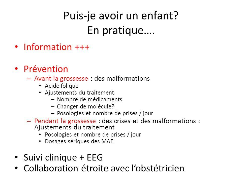 Puis-je avoir un enfant? En pratique…. Information +++ Prévention – Avant la grossesse : des malformations Acide folique Ajustements du traitement – N