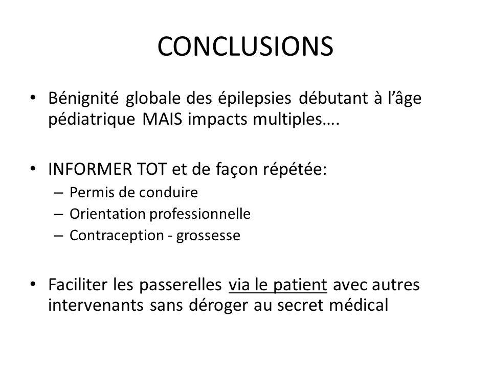 CONCLUSIONS Bénignité globale des épilepsies débutant à lâge pédiatrique MAIS impacts multiples…. INFORMER TOT et de façon répétée: – Permis de condui