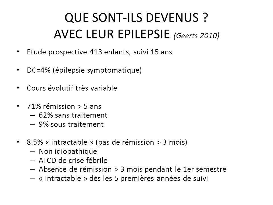 QUE SONT-ILS DEVENUS ? AVEC LEUR EPILEPSIE (Geerts 2010) Etude prospective 413 enfants, suivi 15 ans DC=4% (épilepsie symptomatique) Cours évolutif tr