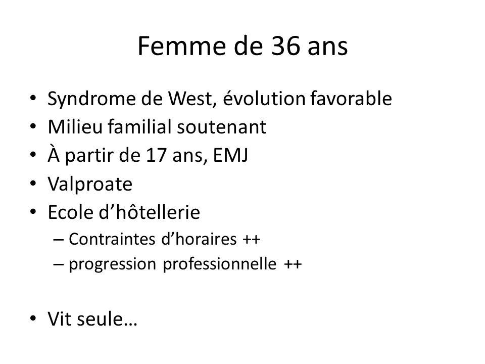 Femme de 36 ans Syndrome de West, évolution favorable Milieu familial soutenant À partir de 17 ans, EMJ Valproate Ecole dhôtellerie – Contraintes dhor