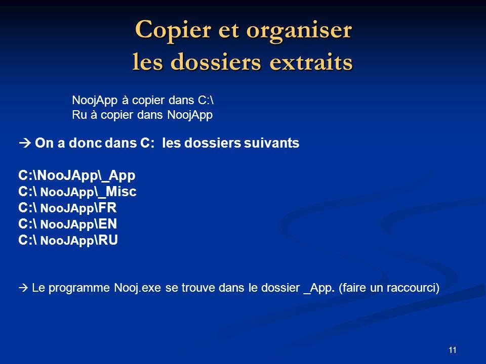 11 Copier et organiser les dossiers extraits NoojApp à copier dans C:\ Ru à copier dans NoojApp On a donc dans C: les dossiers suivants C:\NooJApp\_App C:\ NooJApp \_Misc C:\ NooJApp \FR C:\ NooJApp \EN C:\ NooJApp \RU Le programme Nooj.exe se trouve dans le dossier _App.