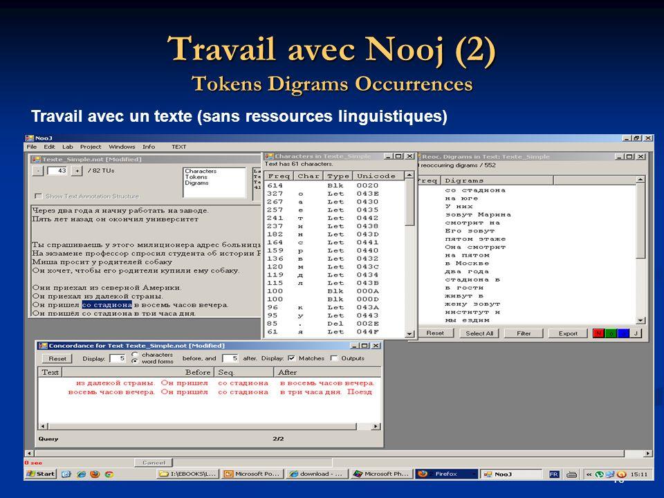 16 Travail avec Nooj (2) Tokens Digrams Occurrences Travail avec un texte (sans ressources linguistiques)