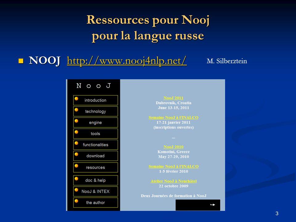 14 Première utilisation de Nooj (2) CHOIX des TEXTES et paramétrage de NOOJ File ( Fichier) : - Choix du texte ( Open / IMPORT - Choix du codage