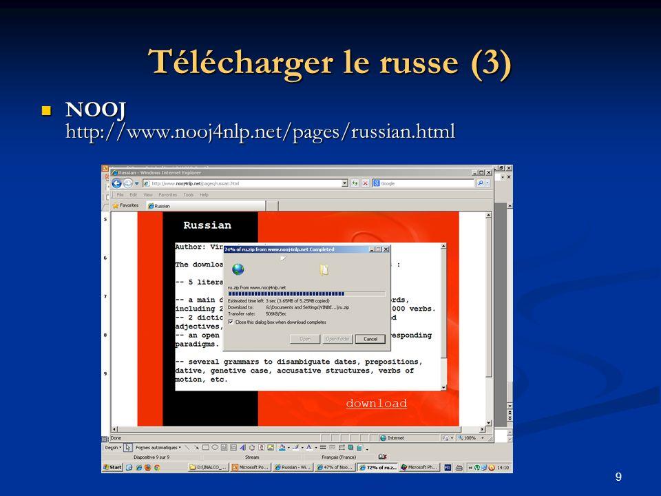 9 Télécharger le russe (3) NOOJ http://www.nooj4nlp.net/pages/russian.html NOOJ http://www.nooj4nlp.net/pages/russian.html