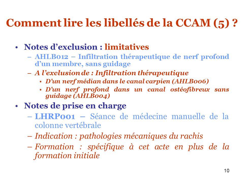10 Comment lire les libellés de la CCAM (5) ? Notes dexclusion : limitatives –AHLB012 – Infiltration thérapeutique de nerf profond dun membre, sans gu