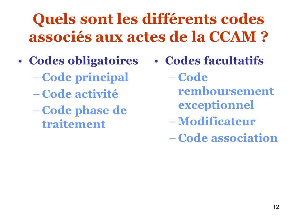 12 Quels sont les différents codes associés aux actes de la CCAM ? Codes obligatoires –Code principal –Code activité –Code phase de traitement Codes f