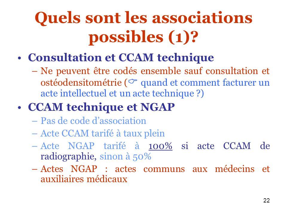 22 Quels sont les associations possibles (1)? Consultation et CCAM technique –Ne peuvent être codés ensemble sauf consultation et ostéodensitométrie (