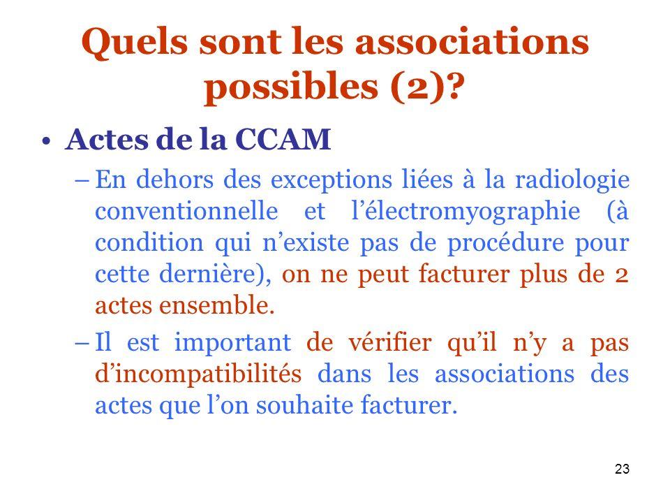23 Quels sont les associations possibles (2)? Actes de la CCAM –En dehors des exceptions liées à la radiologie conventionnelle et lélectromyographie (