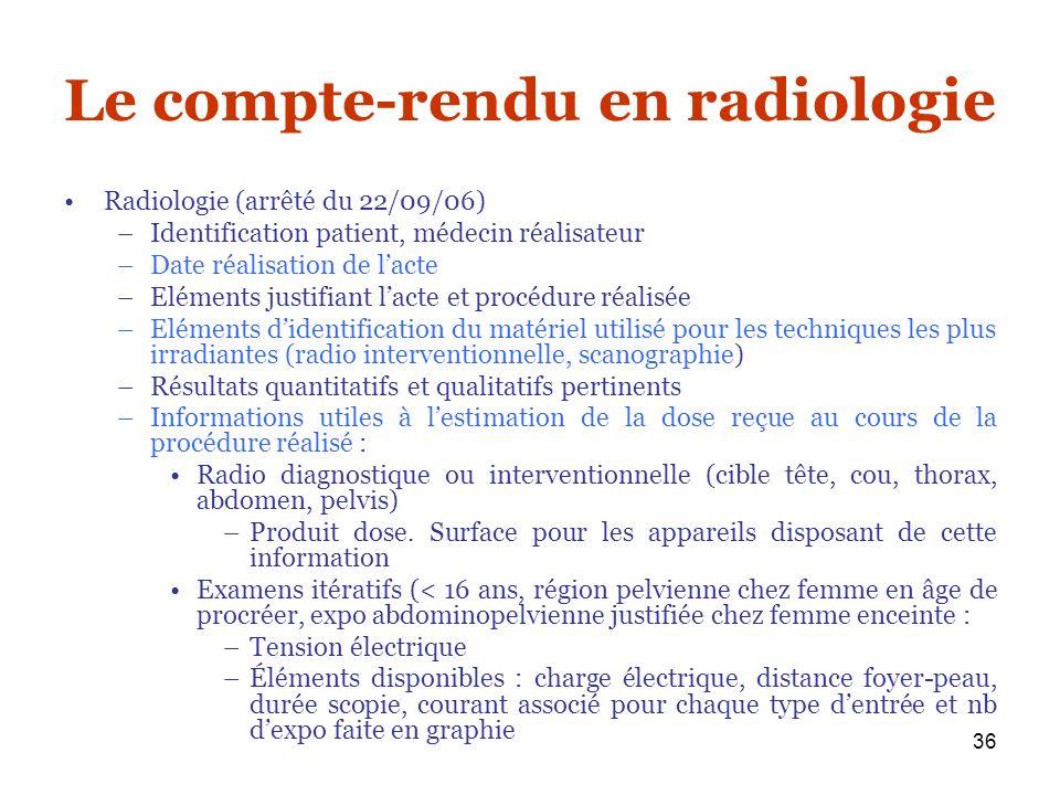 36 Le compte-rendu en radiologie Radiologie (arrêté du 22/09/06) –Identification patient, médecin réalisateur –Date réalisation de lacte –Eléments jus