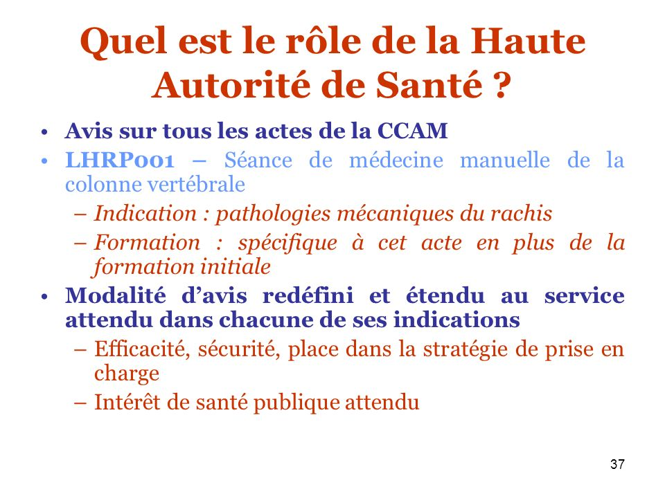 37 Quel est le rôle de la Haute Autorité de Santé ? Avis sur tous les actes de la CCAM LHRP001 – Séance de médecine manuelle de la colonne vertébrale