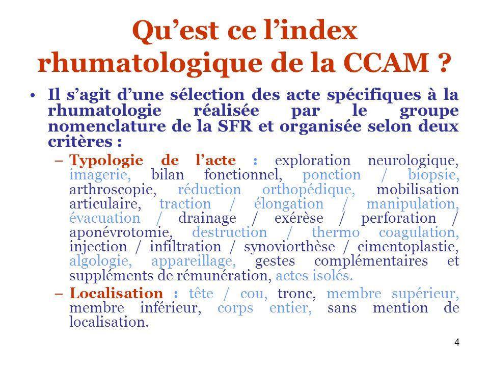 4 Quest ce lindex rhumatologique de la CCAM ? Il sagit dune sélection des acte spécifiques à la rhumatologie réalisée par le groupe nomenclature de la