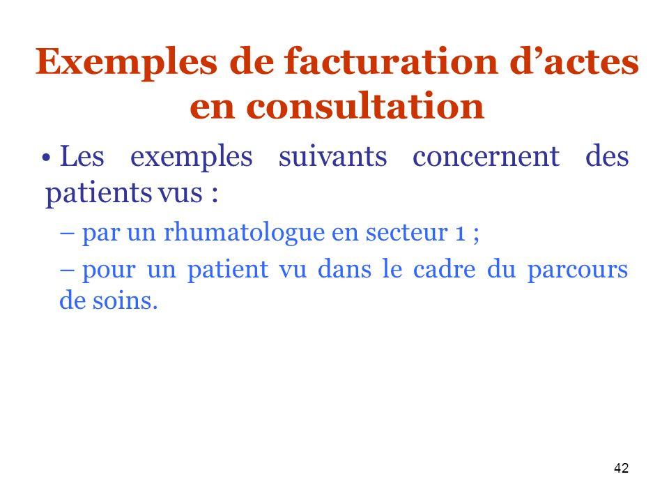 42 Exemples de facturation dactes en consultation Les exemples suivants concernent des patients vus : – par un rhumatologue en secteur 1 ; – pour un p