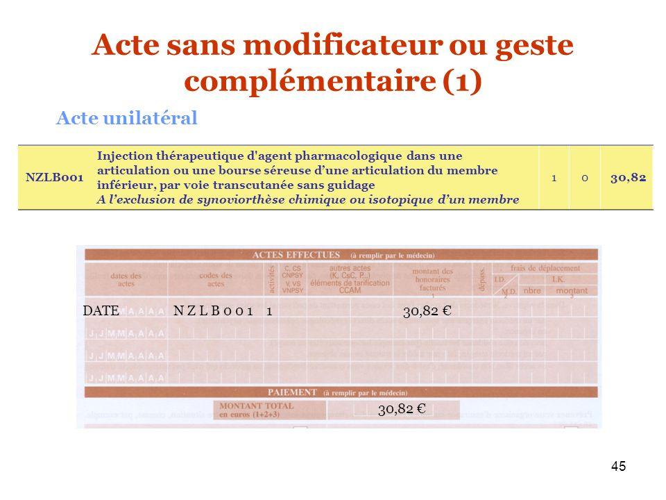 45 DATE N Z L B 0 0 1 1 30,82 30,82 NZLB001 Injection thérapeutique d'agent pharmacologique dans une articulation ou une bourse séreuse dune articulat