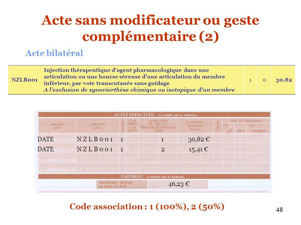 46 DATE N Z L B 0 0 1 1 1 30,82 46,23 Acte sans modificateur ou geste complémentaire (2) Acte bilatéral DATE N Z L B 0 0 1 1 2 15,41 Code association