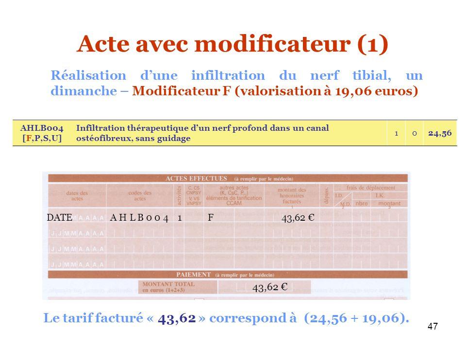 47 Acte avec modificateur (1) AHLB004 [F,P,S,U] Infiltration thérapeutique dun nerf profond dans un canal ostéofibreux, sans guidage 1024,56 Réalisati