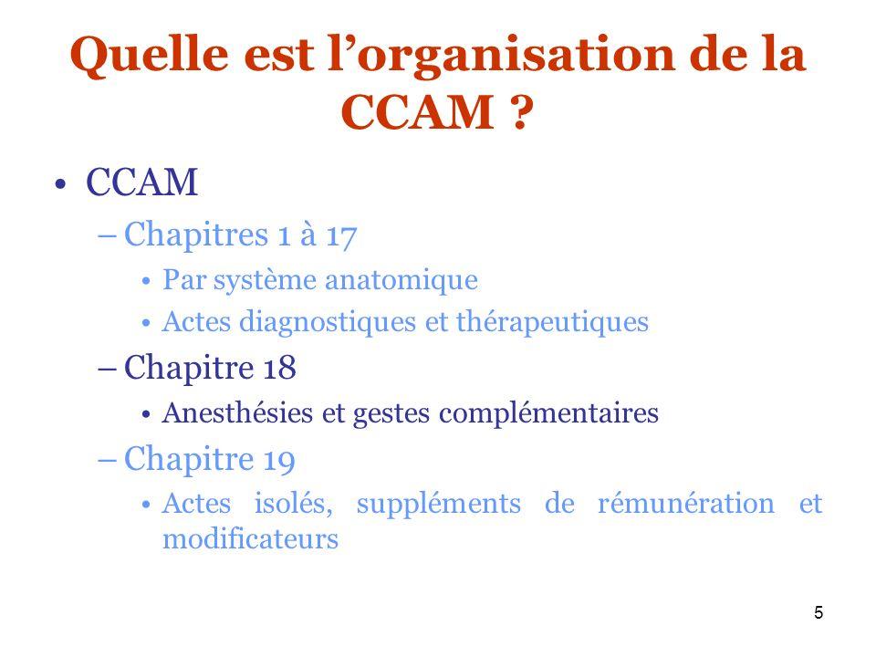 5 Quelle est lorganisation de la CCAM ? CCAM –Chapitres 1 à 17 Par système anatomique Actes diagnostiques et thérapeutiques –Chapitre 18 Anesthésies e