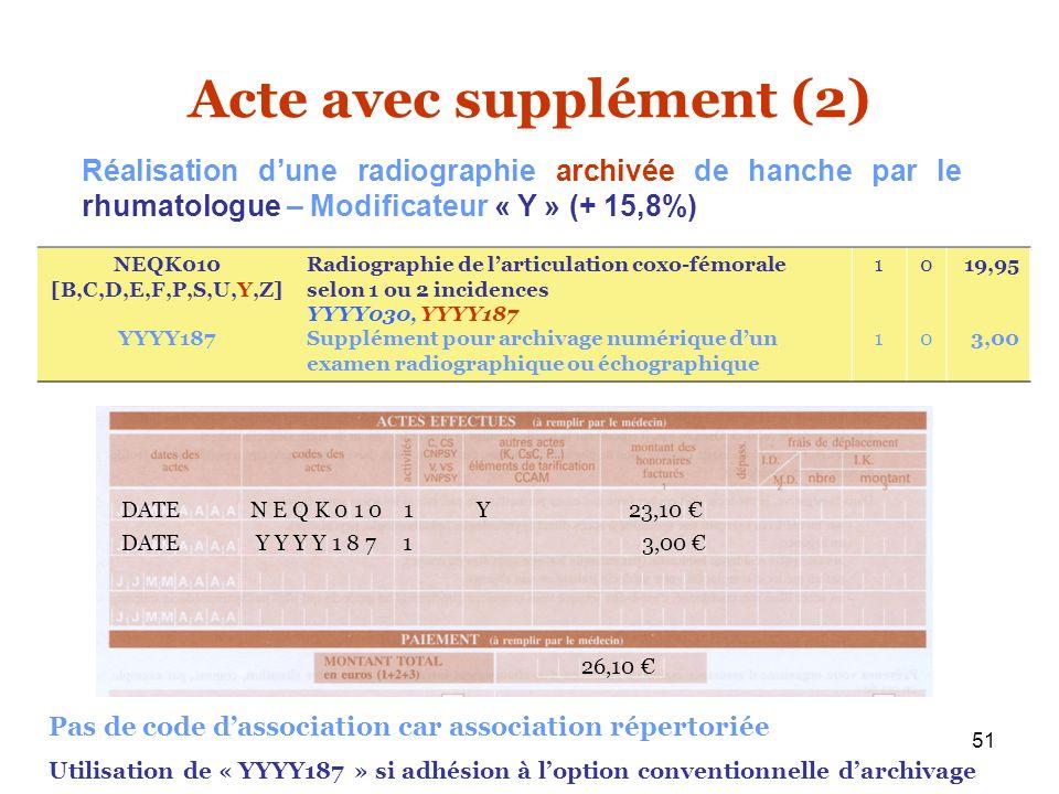 51 Acte avec supplément (2) NEQK010 [B,C,D,E,F,P,S,U,Y,Z] YYYY187 Radiographie de larticulation coxo-fémorale selon 1 ou 2 incidences YYYY030, YYYY187