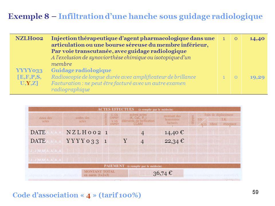 59 Exemple 8 – Infiltration dune hanche sous guidage radiologique DATE Y Y Y Y 0 3 3 1 Y 4 22,34 36,74 DATE N Z L H 0 0 2 1 4 14,40 Code dassociation