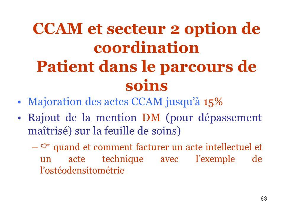 63 CCAM et secteur 2 option de coordination Patient dans le parcours de soins Majoration des actes CCAM jusquà 15% Rajout de la mention DM (pour dépas