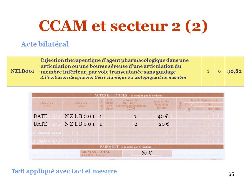 65 60 Acte bilatéral CCAM et secteur 2 (2) Tarif appliqué avec tact et mesure NZLB001 Injection thérapeutique d'agent pharmacologique dans une articul